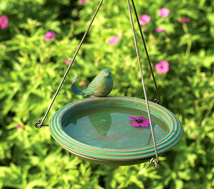 Ceramic Birdbath with Bird