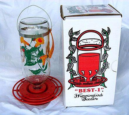 Painted Glass Bottle Hummingbird Feeder