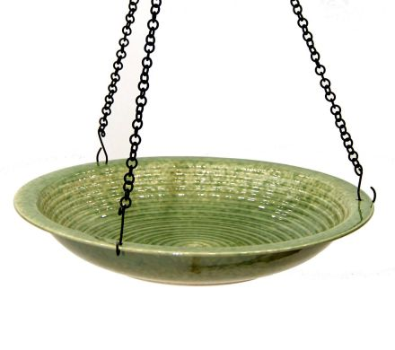 Porcelain Hanging Circle Birdbath - Green
