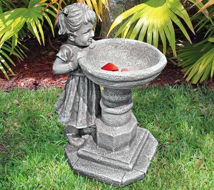 Hand Painted Birdbath Statue