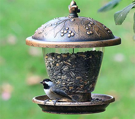 Embossed Bronze Bird Feeder