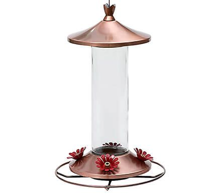 Brushed Copper Glass Hummingbird Feeder