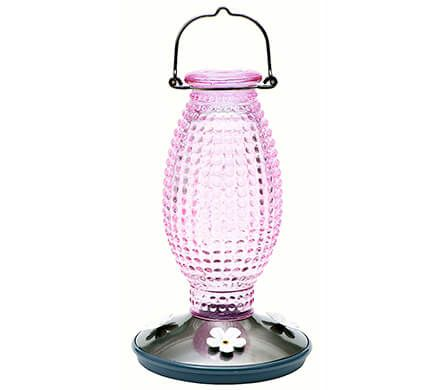 Hobnail Glass Hummingbird Feeder
