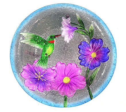 Glass Hummingbird Birdbath with Stand