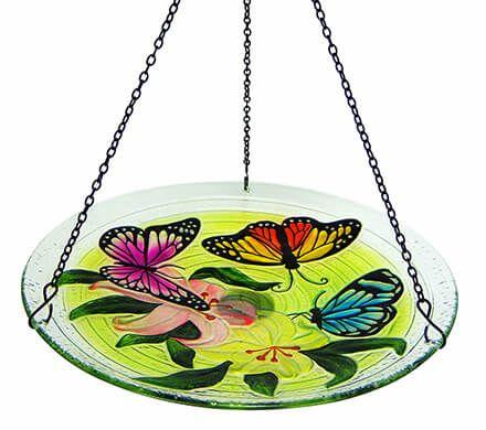 Hanging Glass Butterfly Birdbath