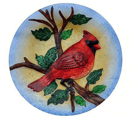 Hanging Glass Cardinal Birdbath