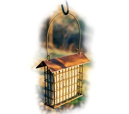 Brushed Copper Roof Suet Feeder