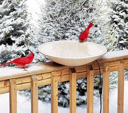 Heated Deck-Mount Birdbath