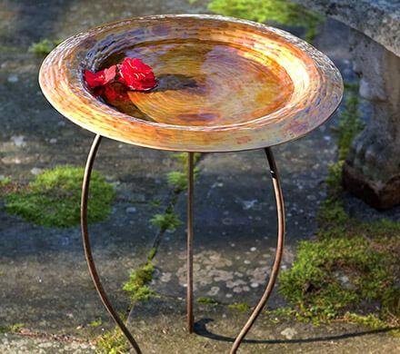 Copper-Finished Birdbath
