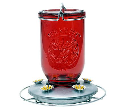 Red Mason Jar Hummingbird Feeder