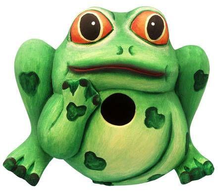 Hand Carved Frog Birdhouse
