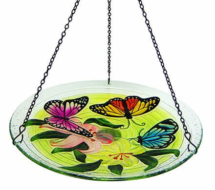 Hanging Glass Butterfly Birdbath