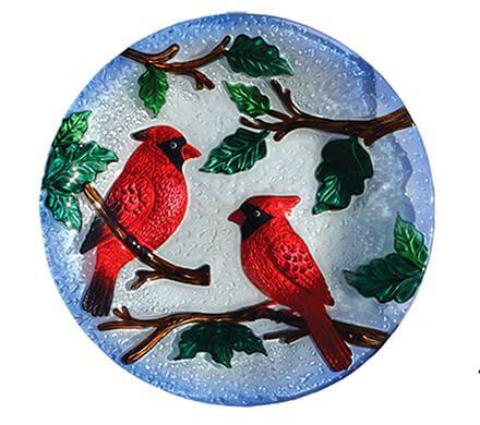 Glass Cardinal Birdbath with Stand