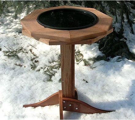 Heated Cedar Birdbath